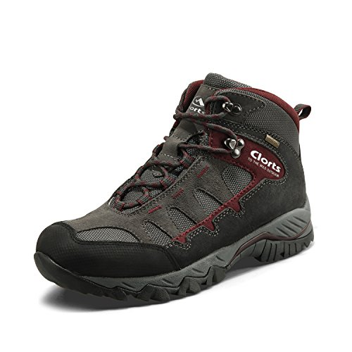 Clorts Men's Mid Hiking Boot Hiker Leather Waterproof Lightweight Outdoor Backpacking Trekking Shoe HKM-823A US11 Grey Dark Red