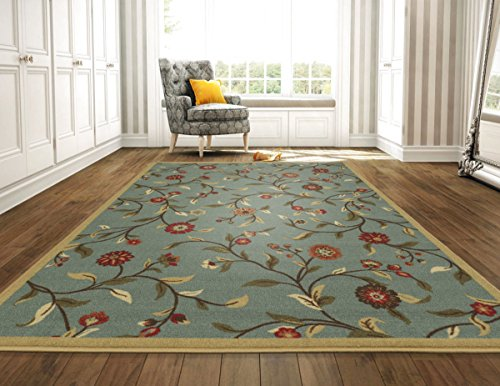 Ottomanson Ottohome Sage Floral Garden Design Modern Area Rug with Non-Skid Rubber Backing, 8'2