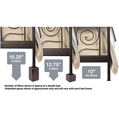 Richards Homewares 98041000 Espresso Wood Bed Lifters (Set of 4) Fits 2.75 x 2.75 Bed Feet