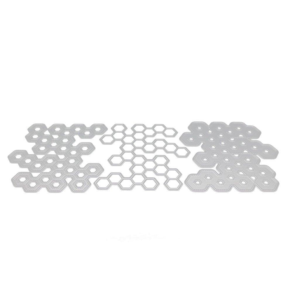 Healifty Taglio Muore Metallo Stencil Modello a nido d'ape Stampo per DIY Scrapbooking Album di nozze Mestiere di carta