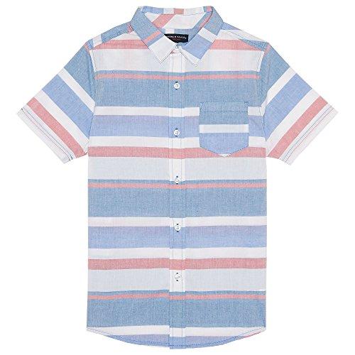 French Toast Boys' Big Short Sleeve Woven Shirt, Blue Raffia, 8 -