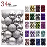 "KI Store 34ct Christmas Ball Ornaments Shatterproof Christmas Decorations Tree Balls Small for Holiday Wedding Party Decoration, Tree Ornaments Hooks Included 1.57"" (40mm Silver)"