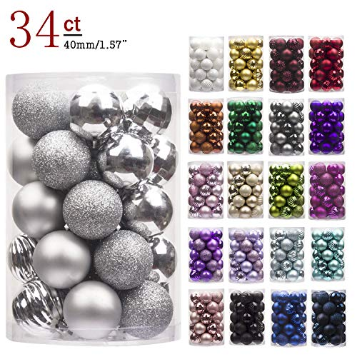 "KI Store 34ct Christmas Ball Ornaments Shatterproof Christmas Decorations Tree Balls Small for Holiday Wedding Party Decoration, Tree Ornaments Hooks Included 1.57"" (40mm -"