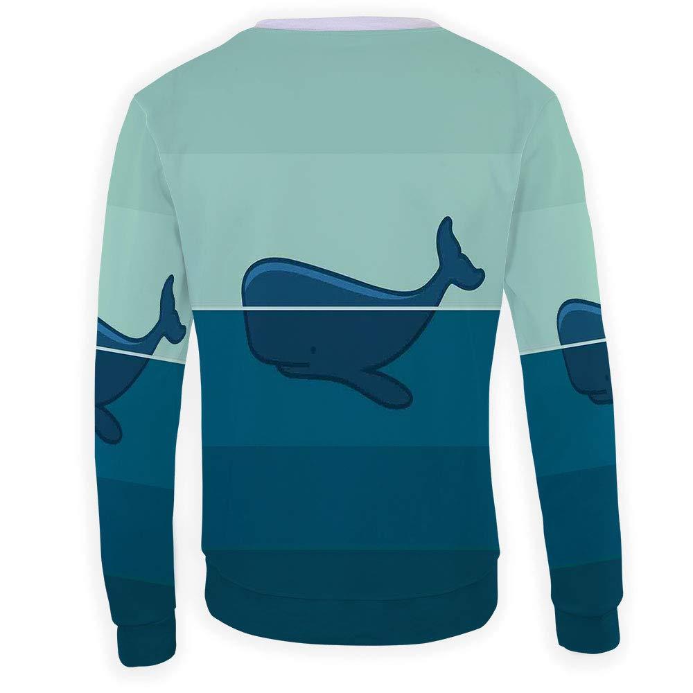 MOOCOM Unisex Whale Decor Sweatshirts Crewneck