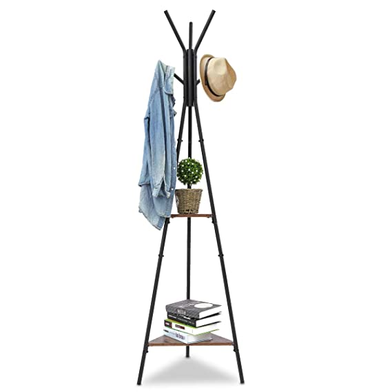KINGSO Standing Coat Rack, Hall Tree Coat Tree Hat Hanger Holder with 6 Hooks 2 Shelves for Bedroom Office Hallway Entryway
