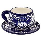 NOVICA Hand Blown Blue Ceramic Floral Cups & Saucers, 6 oz. 'Blue Guanajuato' (set for 4)