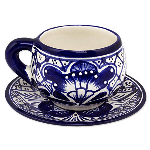 NOVICA Hand Blown Blue Ceramic Floral Cups & Saucers, 6 oz. 'Blue Guanajuato' (set for 4) by NOVICA