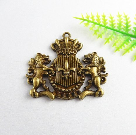 2 Bronze Plated Huge Lions and Crown Decorative Embellishment Lion Ornament Charm 44x38mm (NS715) (Crown Charms Plated)