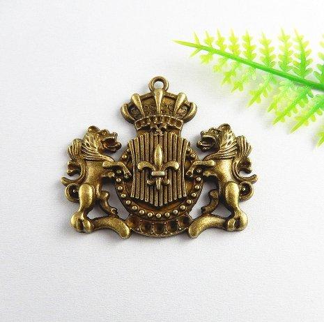 Griffon Ornaments (2 Bronze Plated Huge Lions and Crown Decorative Embellishment Lion Ornament Charm 44x38mm (NS715))