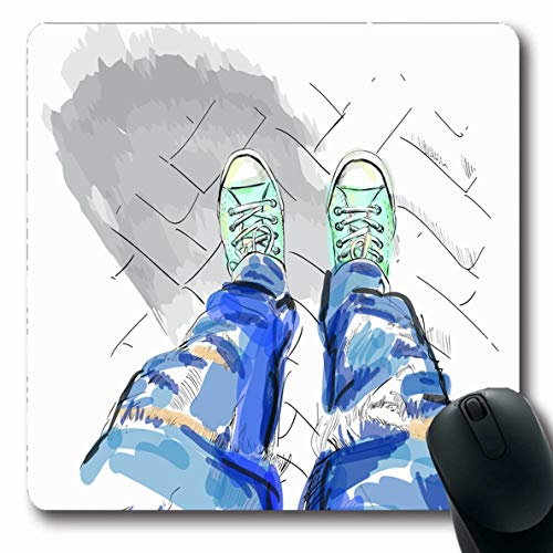 - Ahawoso Mousepad for Computer Notebook Culture Sketch Legs Blue Jeans Gumshoes Shoe White Sports Recreation Modern Basketball Contemporary Oblong Shape 7.9 x 9.5 Inches Non-Slip Gaming Mouse Pad