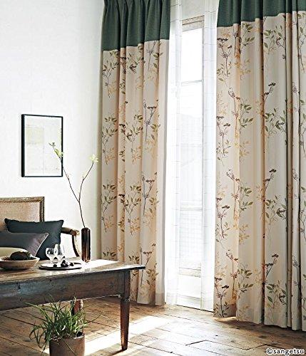 サンゲツ ナチュラルな色合いの生地に、鮮やかな刺繍表現のリーフ柄。 カーテン2.5倍ヒダ SC3251 幅:200cm ×丈:140cm (2枚組)オーダーカーテン   B07849JNBC