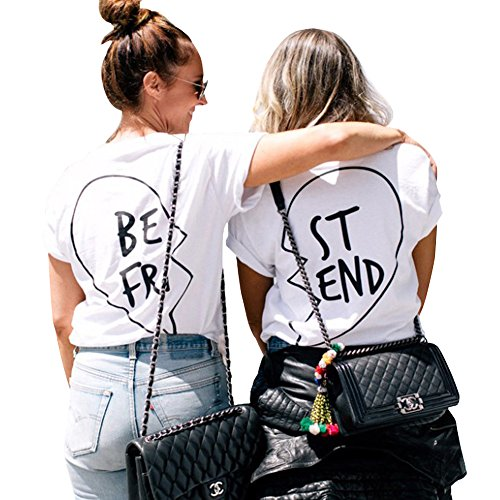 Best Friends T Shirts Women Cotton Cute Funny Graphic Aesthetic Tops Clothing Teen Girls (White BE, S)