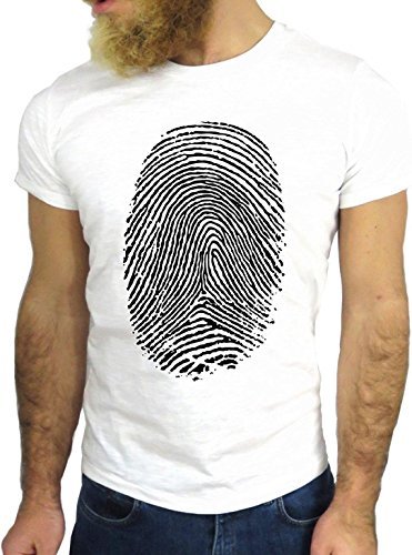 T SHIRT JODE Z1732 FINGERPRINT HAND FINGER AMERICA ENJOY FUN COOL FASHION NICE GGG24 BIANCA - WHITE XL