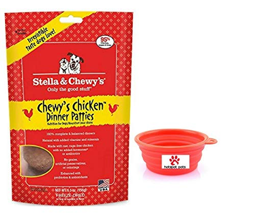 Stella & Chewy's Freeze Dried Dog Food,Snacks 5.5-ounce Bag & Hot Spot Pet Food Bowl - Made in USA (Chicken)