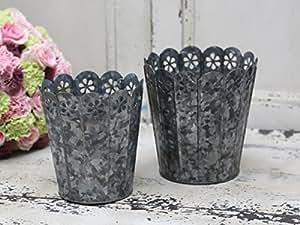 CHIC Antique ° Maceta con puntas borde grande ° Vintage ° Antique Zinc
