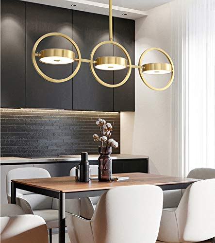 FZC-YM Chandeliers Ceiling Light -Traditional Pendant Lamp, Acrylic Brass Led Metal Gold Dimmable 220V Bedroom Restaurant Living Room, -