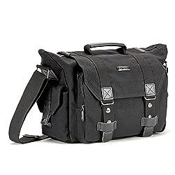 Slr Camera Bag Evecase Large Canvas Messenger Slrdslr Camera Shoulder Bag With Rain Cover For Digital Cameras, Laptops & Other Accessories - Black