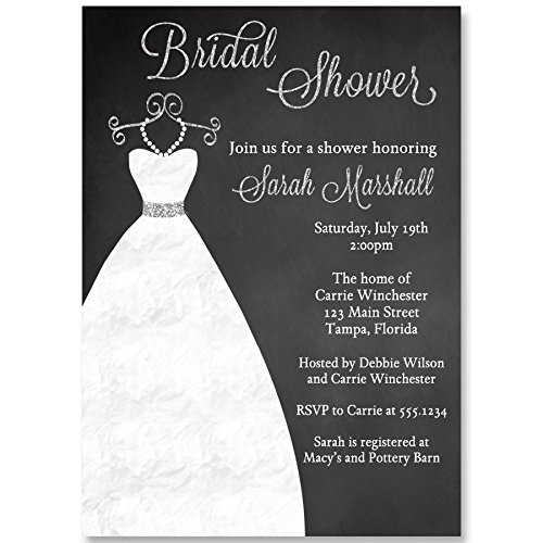 - Chalkboard Bridal Shower Invitations Wedding Gown Invites Silver Black Dress Elegant Lace Blackboard Personalize Customize Bride (10 Count)