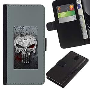 KLONGSHOP // Tirón de la caja Cartera de cuero con ranuras para tarjetas - GRAY SANCIONAR CRÁNEO - Samsung Galaxy Note 3 III //