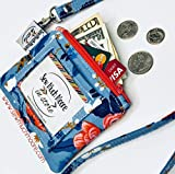 Blue Coral Floral ID Wallet Lanyard Badge Holder Cash and Coin Purse