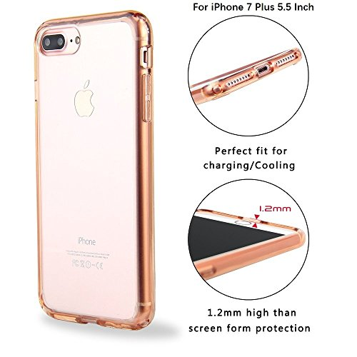 Case+Film Snap on Cover Fits Apple iPhone 6 Plus/6S Plus/7 Plus/8 Plus Acrylic Hard Back & Anti-Yellowing Soft TPU Bumper Rose ()