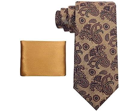 Scott Allan Mens 100% Silk Paisley Necktie and Solid Color Pocket Square Set