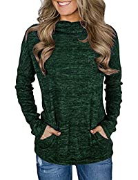 Womens Casual Long Sleeve Cozy High Neck Solid Sweatshirt with Pocket