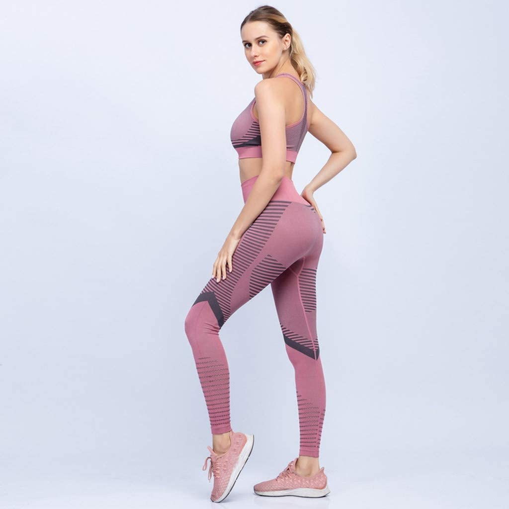 Koolsants 2 Piece Sets Legging /& Padded Racerback Sports Bra-High Impact Support for Yoga Gym Workout Fitness