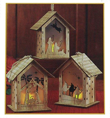 THREE KINGS GIFTS THE ORIGINAL GIFTS OFCHRISTMAS Nativity Scene Cut-Out LED Light-up 5 inch Wood Carved Christmas Ornament Set of 3 for $<!--$19.95-->