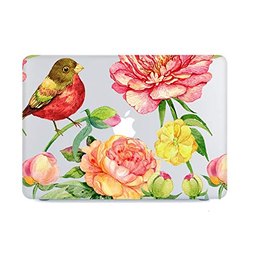 (MacBook Air 13 Inch Case 2018 Release A1932, Birds and Peony Flowers Clear Case, Soft Tough Frosted Matte See Through Hard Shell Case for MacBook Air 13 Inch & Retina Display Fits Touch ID)