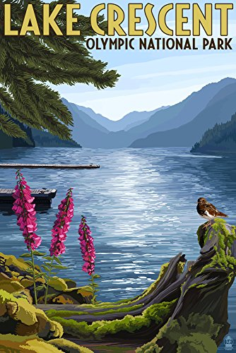 (Olympic National Park, Washington - Lake Crescent (12x18 Art Print, Wall Decor Travel Poster) )