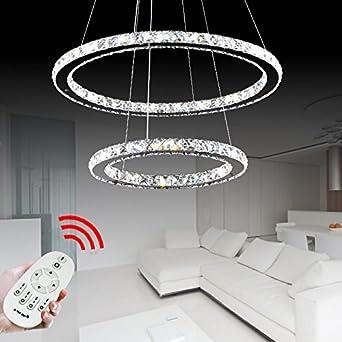 VINGO® 64W 2 Ringe LED Deckenleuchte Kreative Kronleuchter Designleuchte  Dimmbar Mit Fernbedienung Kristall Design Pendelleuchte