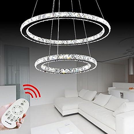 VINGO® 64W 2 anneaux LED Araña de cristal Crystal Lámpara suspensa Candelabro Regulable Lámpara colgante Lámpara de techo Dos anillos Circular ...