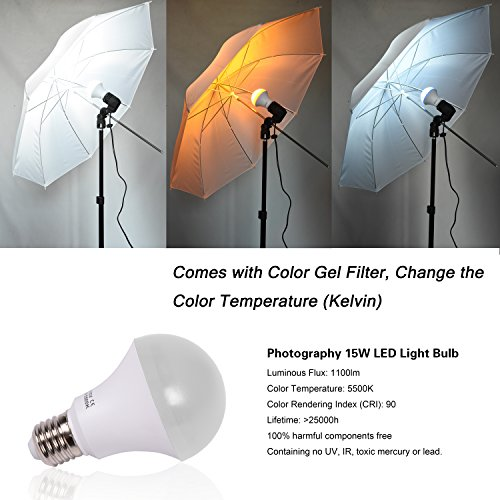 Emart Studio LED Photography Umbrella Lighting Kit, 500W 5500K LED Photo Lights for Camera Lighting, Continuous Lighting, Portrait Video Shooting – Umbrella Reflector Light by EMART (Image #1)