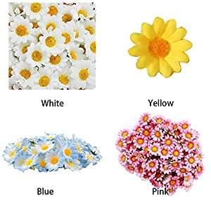 100Pcs Gift Flowers Heads Artificial Daisy Silk Decoration Wedding Party Bouquet Home Decor Chrysanthemum Floral Gerbera,Yellow 5