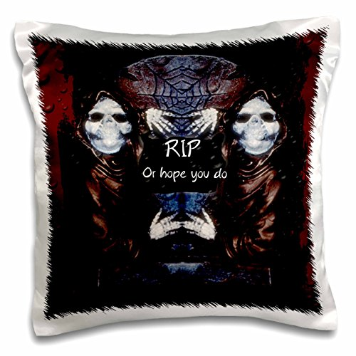 ET Photography - Halloween Designs - Grim reaper with tombstone and Halloween saying - 16x16 inch Pillow Case (pc_162110_1)
