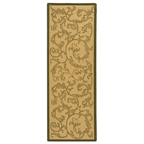 Safavieh Courtyard Collection CY2653-1E01 Natural and Olive Indoor/Outdoor Runner (2'3