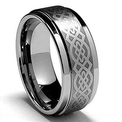 King Will 8mm Mens Tungsten Carbide Ring Laser Etched Celtic Knot Polish Edge Wedding Band (10.5) (Classic Celtic Knot Ring)
