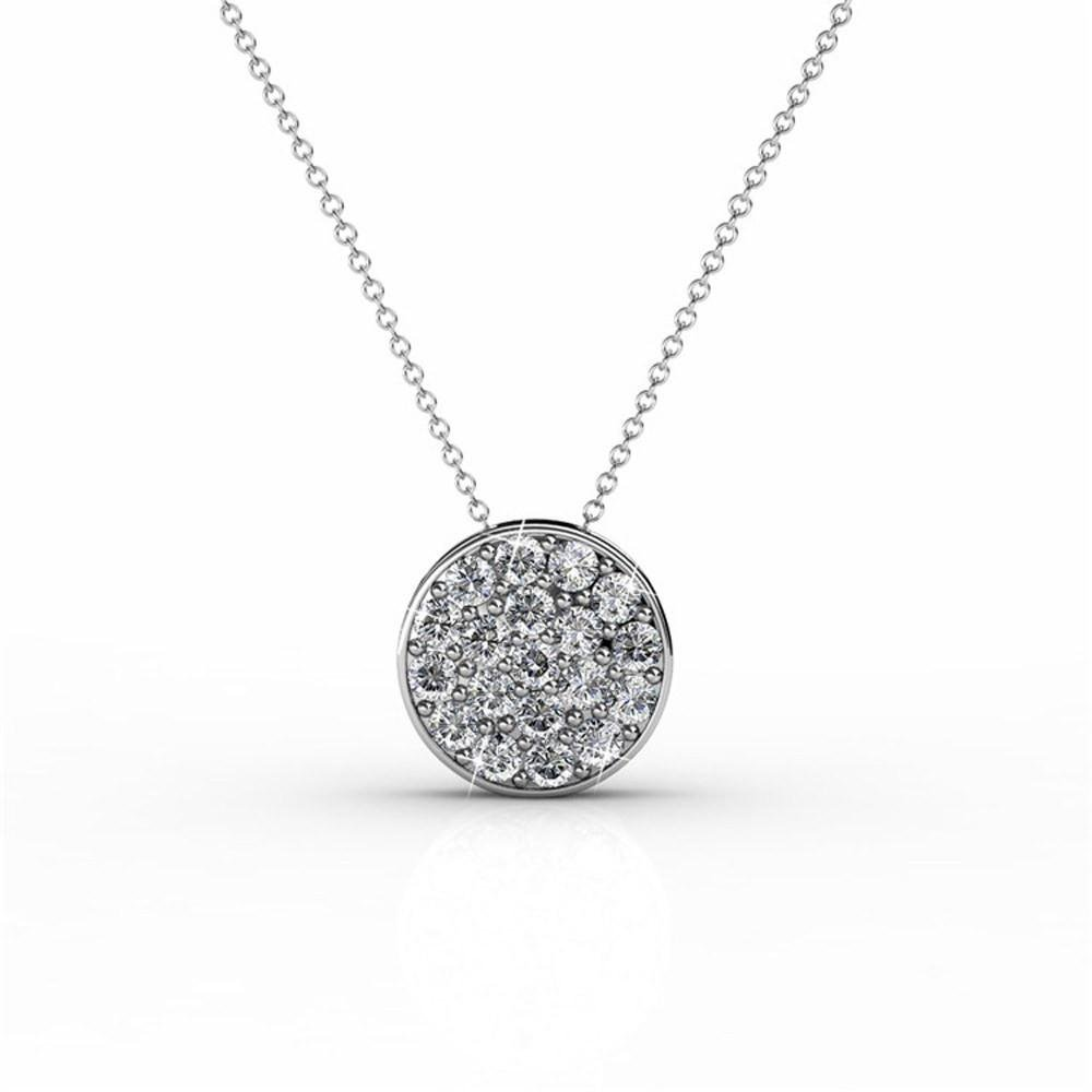 """Cate & Chloe Nelly """"Valor"""" White Gold Plated Pave Stone Necklace w/Swarovski Crystals, Modern Trendy Beautiful Round Cut Diamond Cluster Necklace, Wedding Statement Necklaces (Silver) - MSRP $145"""