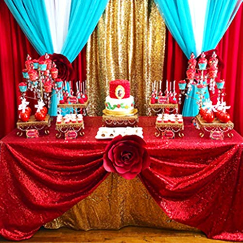 B-COOL Red sequin tablecloth 50