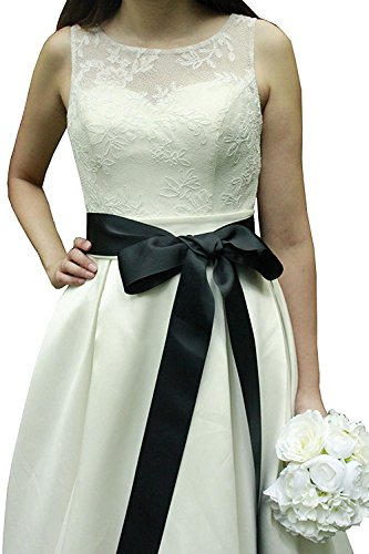 Wedding Sash Bridal Belts Simple Classic Silk Ribbon Sash for Dress (Black)