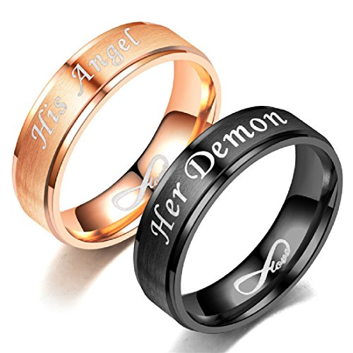 Blowin His Angel/Her Demon Love Infinity Relationship Ring Stainless Steel Engagement Wedding Band for Women Men