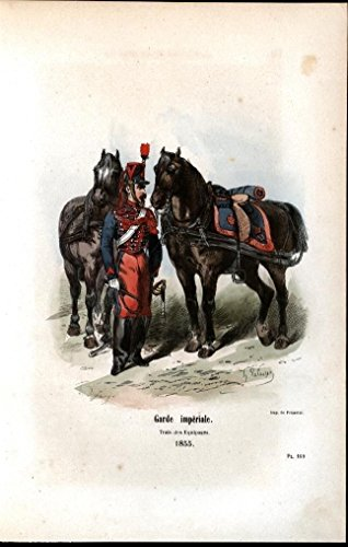 Imperial Guard Baggage Train 1858 antique engraved equestrian color print