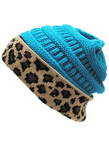K&B Soft Stretch Cable Knit High Bun Ponytail Beanie Hat Cheetah Leopard (Turquoise Blue)