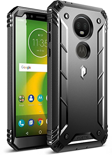 Moto E5 Plus Rugged Case, Poetic Revolution [360 Degree Protection] Full-Body Rugged Heavy Duty Case with Built-in-Screen Protector for Motorola Moto E5 Plus Black
