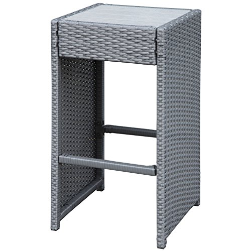 Grey 7 Piece Indoor Outdoor Resin Wicker Bar Stool And