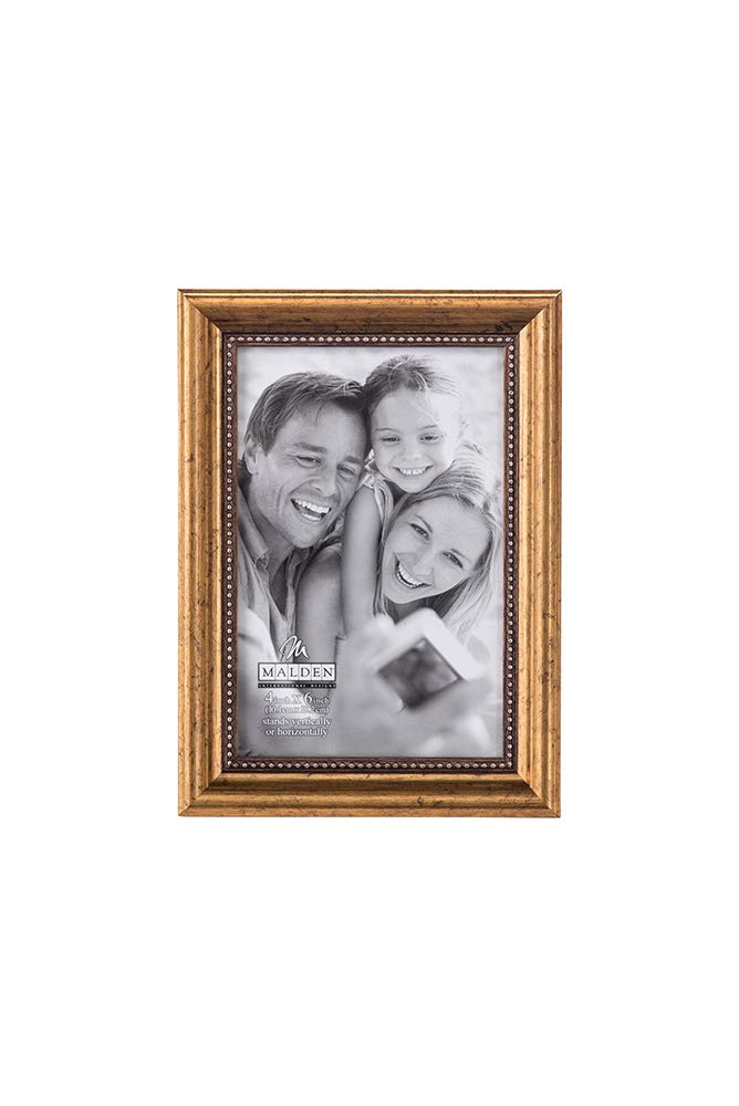 Malden International Designs Classic Wood Picture Frame, 4 by 6-Inch, Gold Bead 2177-46
