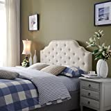 Silvia Beige Fabric Queen/Full Headboard