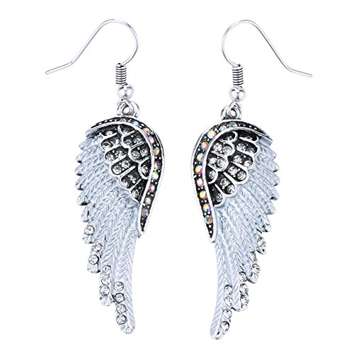 Szxc Jewelry Womens Crystal Guardian Angel Wings Dangle Earrings Christmas Biker Jewelry