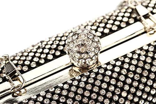 rhinestone rhinestone Wallets Shell clutch bag Black evening Hard party CqEEdH
